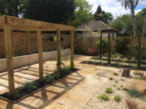 patio area pergola landscape gardener ilkley