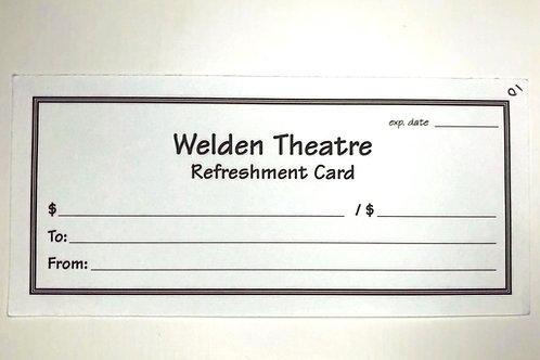 Refreshment Card - $20