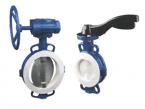 Затвор для межфланцевой установки КОРАЛ серии KY BF с уплотнением PTFE/PFA/FEP