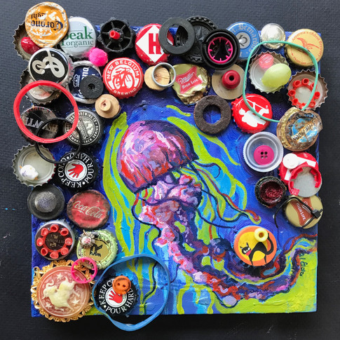 Jellyfish and Bottle Caps | 2019 mixed media