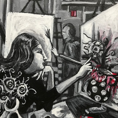 Pat Painting Flowers in Studio | 2017