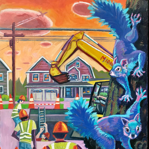 Blue Squirrel and Summer Construction | 2020 oil