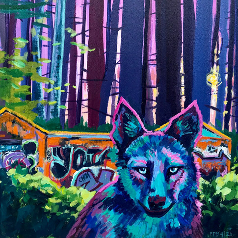 Dedham Pump House, Stand of White Pines and Coyote | 2021 oil