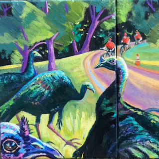 Larz Anderson Park, Turkeys and Bicycles | 2021 oil
