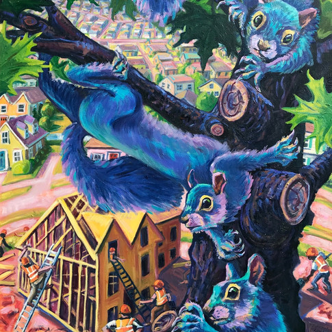 Blue Squirrels and New Construction | 2019 oil