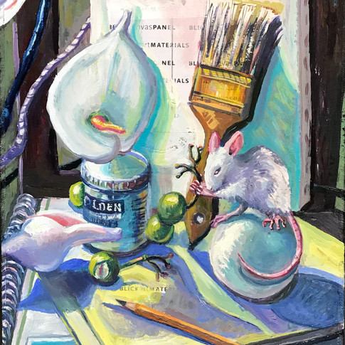 White Still Life with Mouse and Fox | 2018 oil