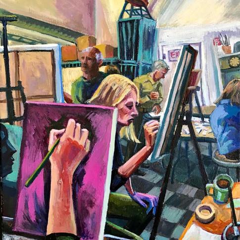 Six People Painting in The Studio, MFA, Boston | 2018 acrylic