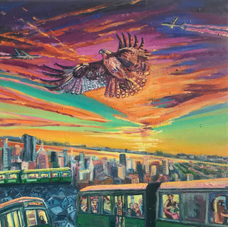 City Subway and Red Tail Hawk | 2020 oil