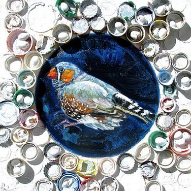 Finch Nest w Bottle Caps and Eggs | 2016