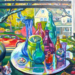 Suburban Window with Bottles | 2017 SOLD