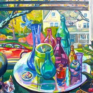 Suburban Window with Bottles   2017 SOLD