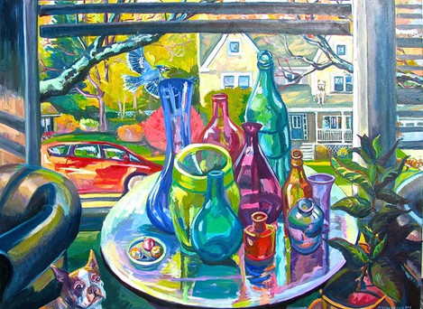 Suburban Window with Bottles 2017 oil on canvas SOLD
