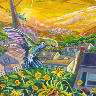 Hot Hummingbirds and Sunflowers   2016 SOLD