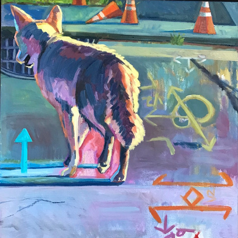 Coyote and Road Symbols | 2020 oil