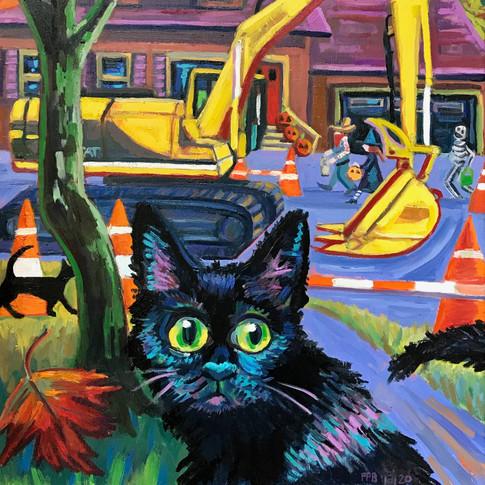 Black Cat, Halloween Construction | 2020 oil