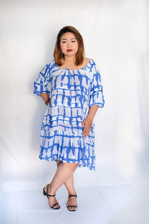 Women Resort Wear Clothing Plus Size 2020 - D4678 Yoko Blue Print