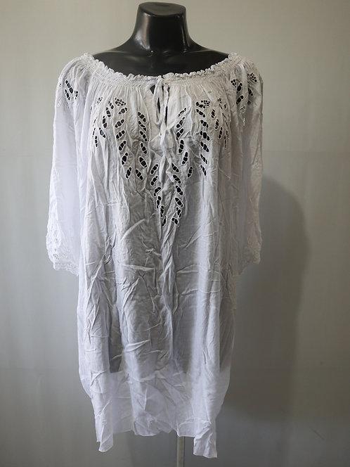 RL027 DRESS - White Plain - Rayon