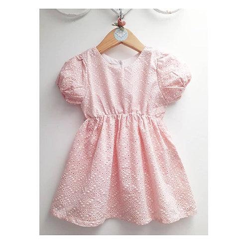 Vestido laise rosa bebê
