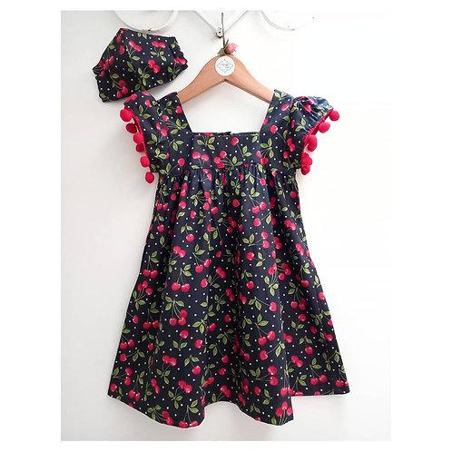 Vestido pom pom cerejas