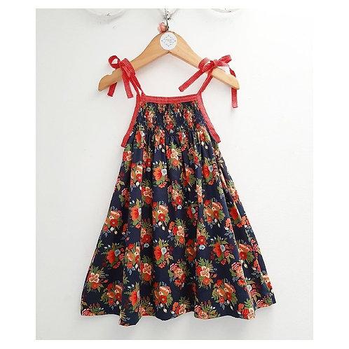 Vestido lastex floral marinho