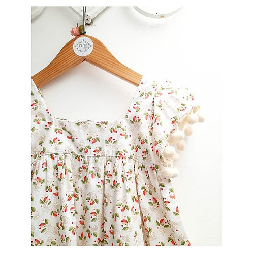 Vestido florzinhas pom pom