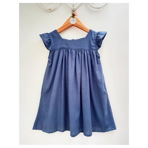 Vestido linho azul