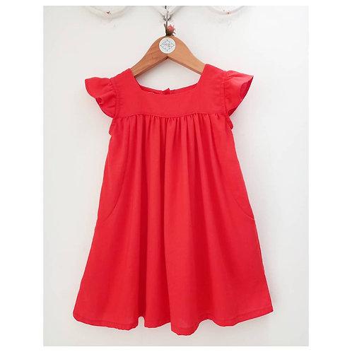 Vestido linho vermelho/coral