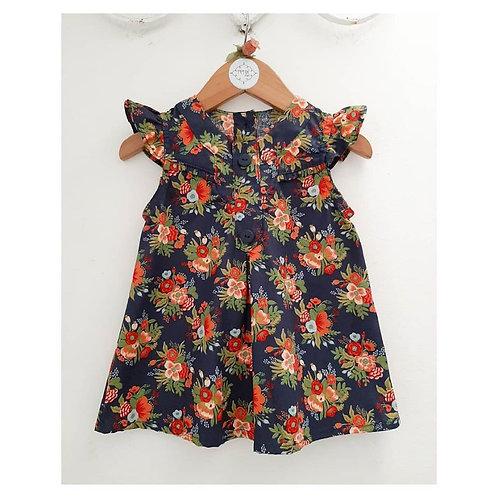 Vestido floral marinho + calcinha