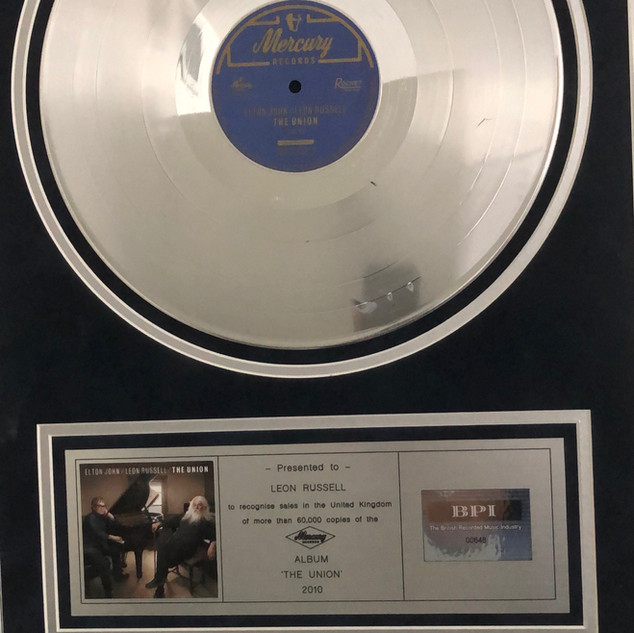 """Leon and Elton John BPI Certified Gold for """"The Union"""""""