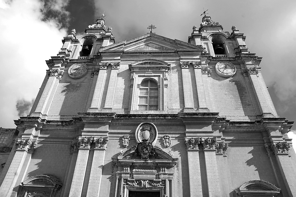 The facade of Mdina's Metropolitan Cathedral