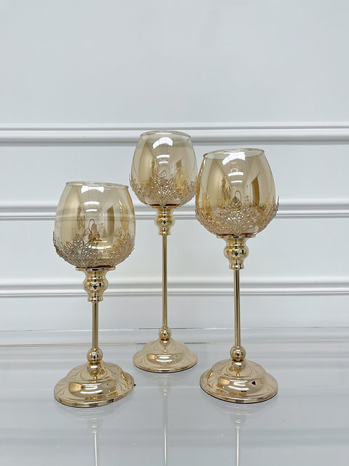 Wine glass candleholder(set)