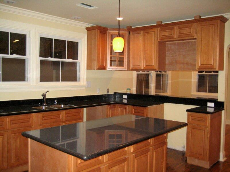 Wood cabinets and granite