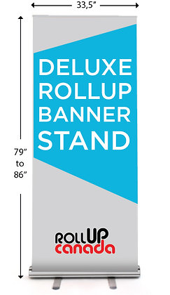 33,5'' W 79'' - 86'' H (Stand + banner)