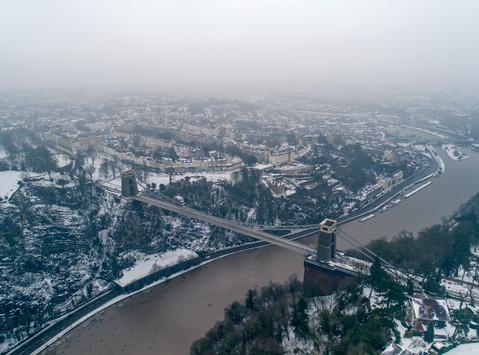 Clifton Suspension Bridge in the snow