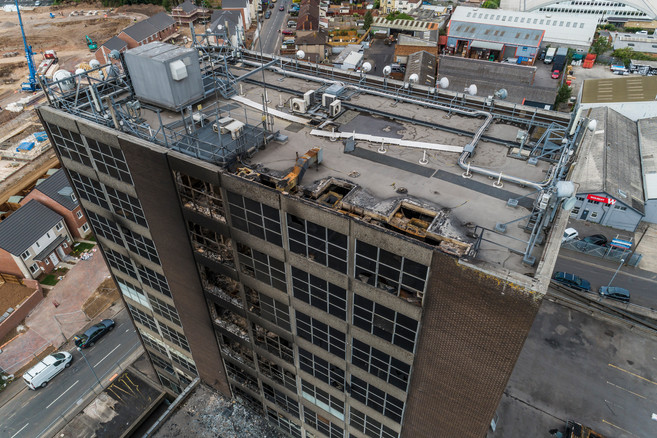 Burnt out office block
