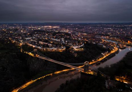 Clifton Suspension Bridge just before sunrise