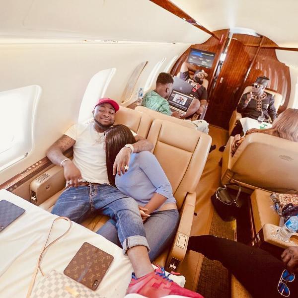 As Davido jets privately
