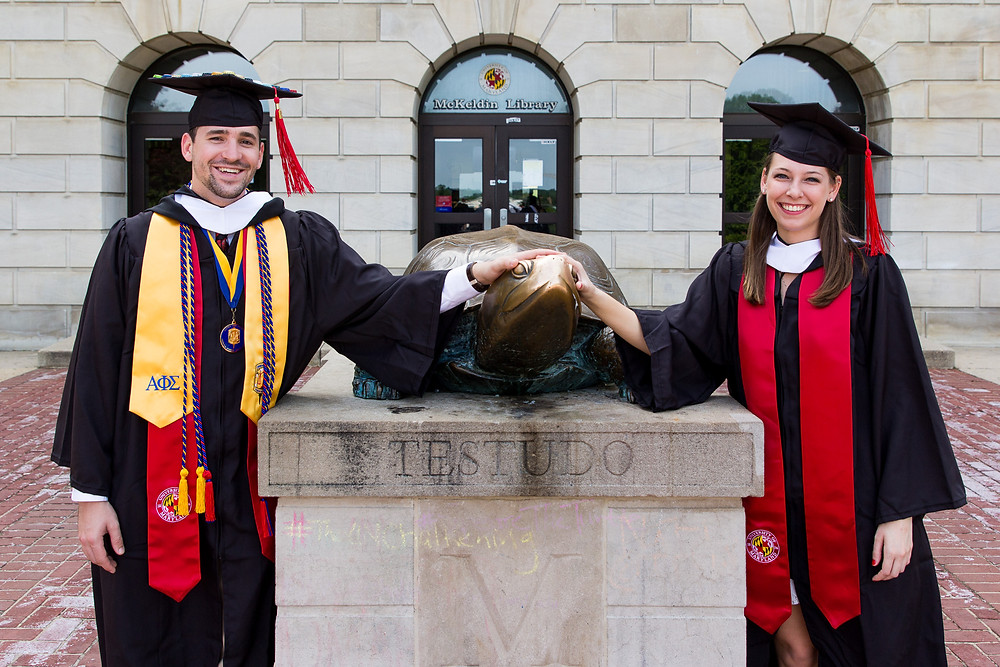 graduation umd couple testudo