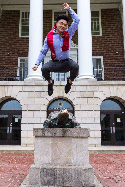 Testudo UMD portrait graduation action Maryland