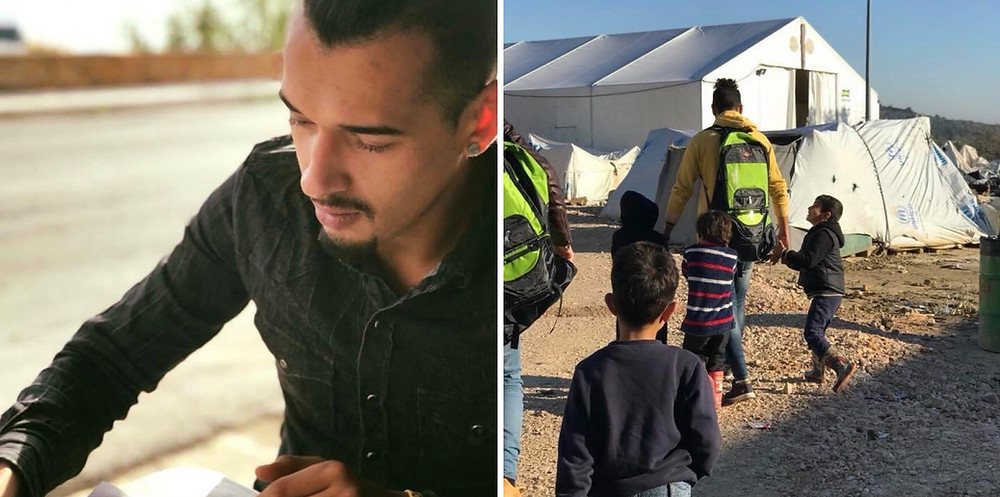 Mohammed Azawi is a Refugee from Iraq. Here he is seen volunteering on Chios Island, Greece.