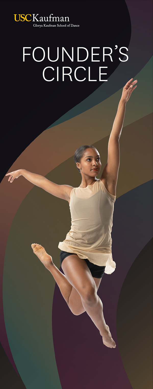 Brochure with dancing woman on the front panel titled Founder's Circle.