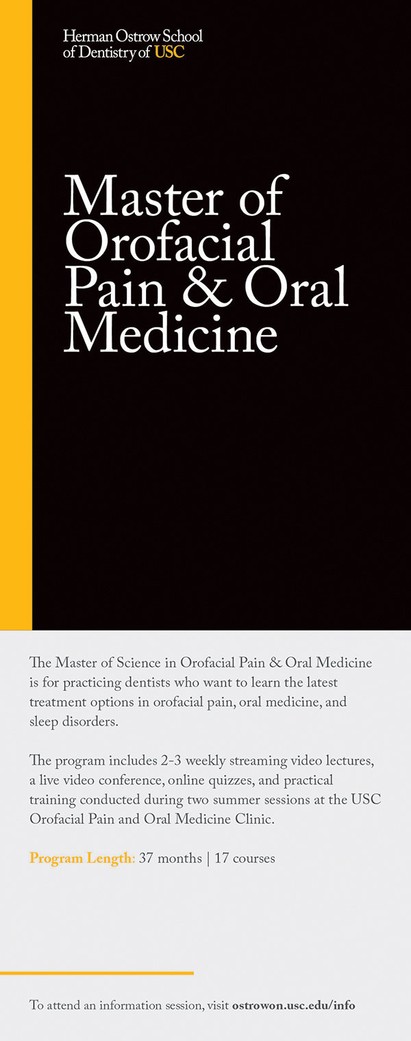 Marketing pamphlet title panel for Master of Orofacial Pain and Oral medicine.