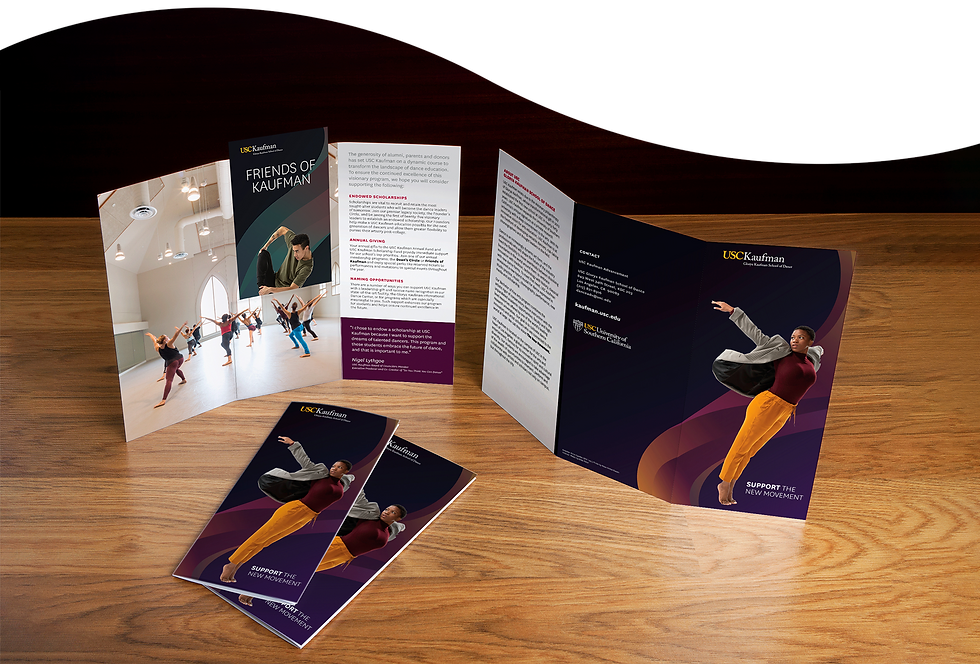 Four trifold brochures on display atop a wooden desk.