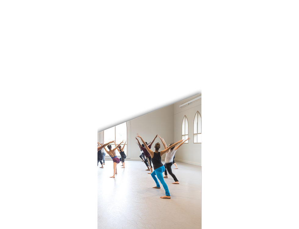 Brochure containing image of a dance studio with dancers arms outstretched.