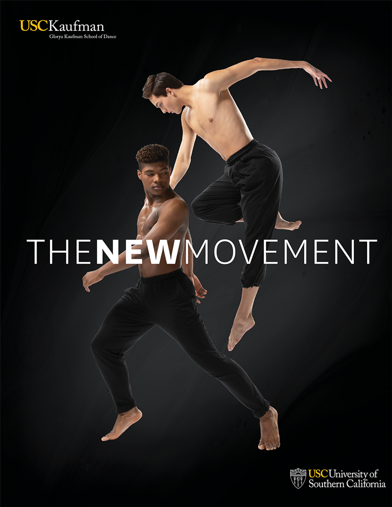 Brochure showing two male dancers with the title The New Movement in the center.