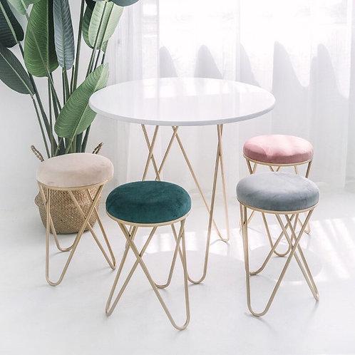 (Pre Order) เก้าอี้พร้อมเบาะรองนั่งกำมะหยี่สีพาสเทล