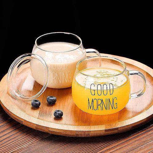 แก้วสกีนGood morning ทรงอ้วน 300ml