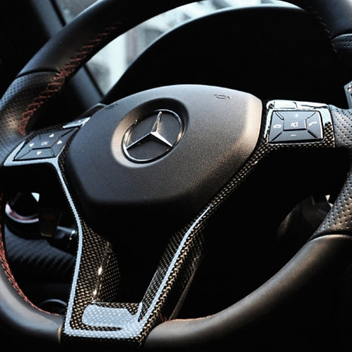 Carbon Fibre Steering Wheel Trim for Pre-Facelift Mercedes A45 AMG
