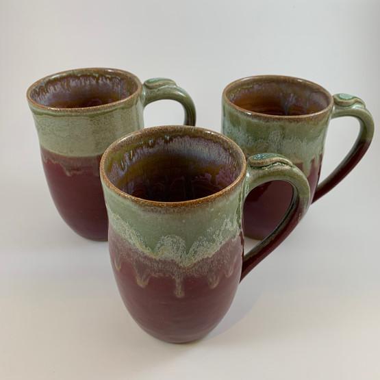 Burgundy and Green mugs