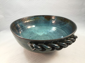 Teal Blue Bowl with Braid